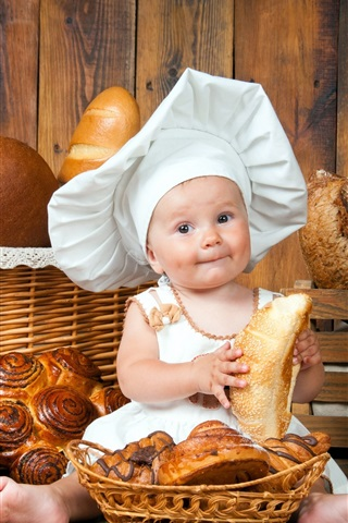 iPhone Wallpaper Cute baby, cook, lot of bread