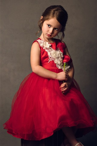 iPhone Wallpaper Cute child, girl, red skirt, red roses