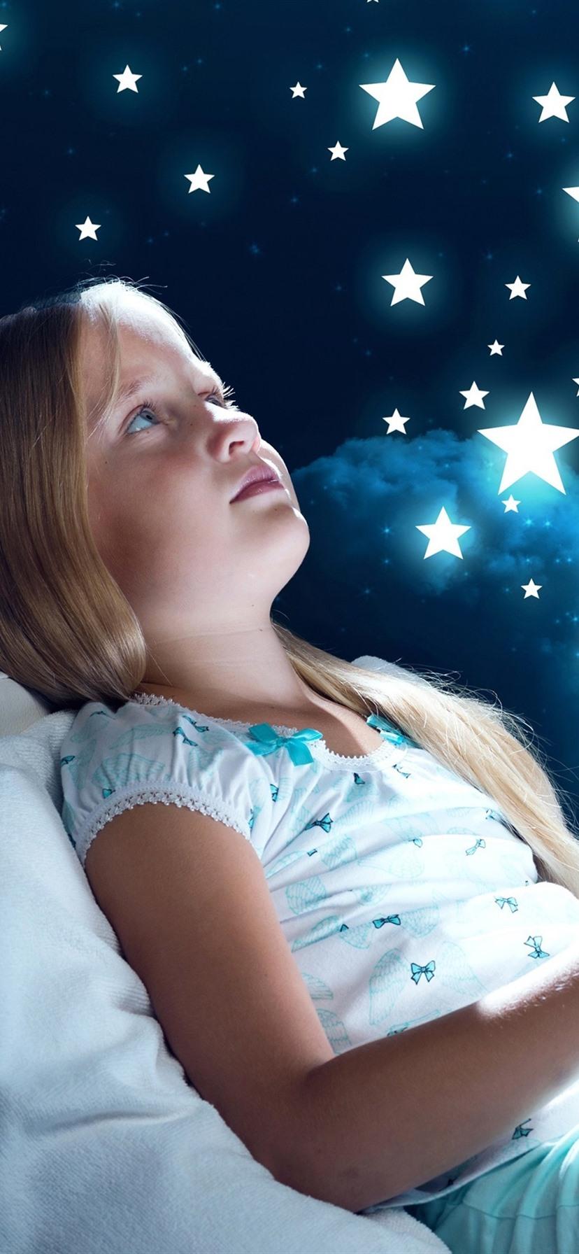 Cute Little Girl Child Imagination Stars Moon Clouds