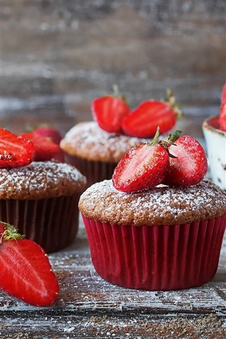 iPhone Wallpaper Delicious cupcakes, powdered sugar, strawberry