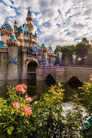 iPhone Wallpaper Disneyland, morning, roses, clouds, sun rays