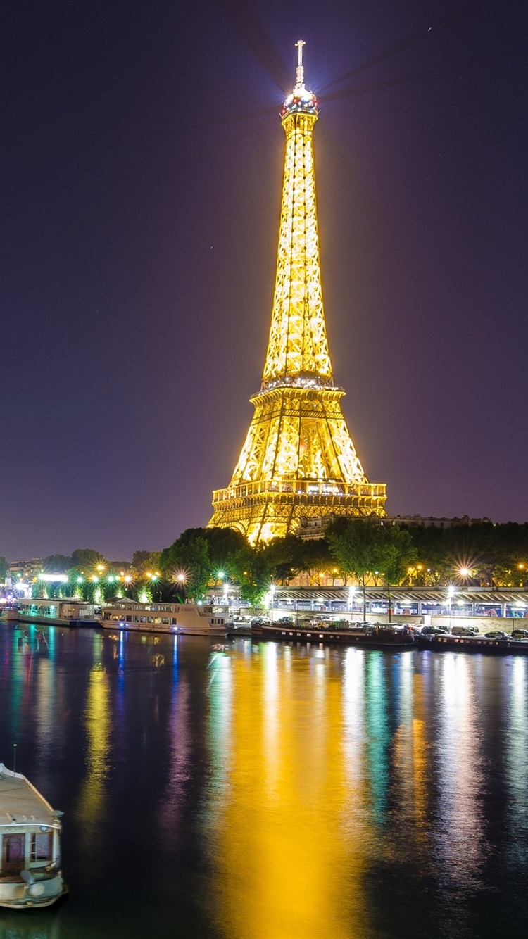 Wallpaper Eiffel Tower Paris France River Lights Illumination