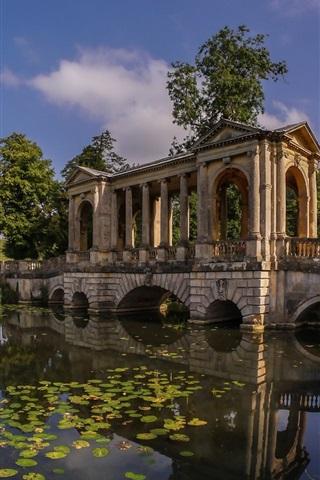 iPhone Wallpaper England, Buckinghamshire, Palladian Bridge, Stowe Park, river