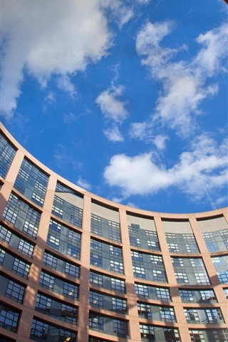 iPhone Wallpaper France, Strasbourg, European Parliament building, windows, blue sky, clouds