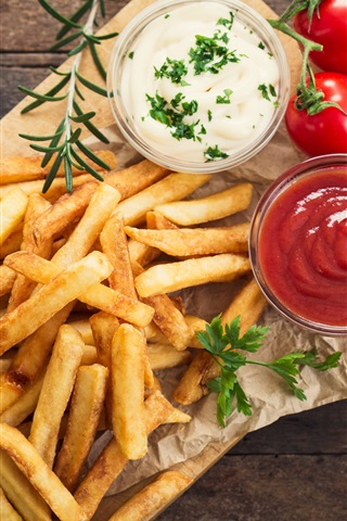 iPhone Wallpaper French fries, tomatoes sauce