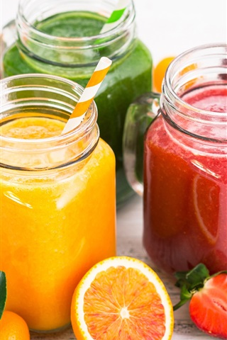iPhone Wallpaper Fruit juice, kiwi, orange, apple