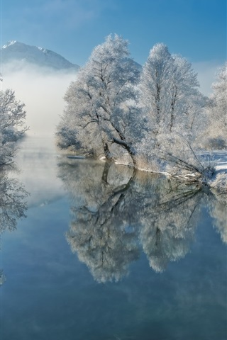 iPhone Wallpaper Germany, Bavaria, river, water reflection, winter, trees, snow