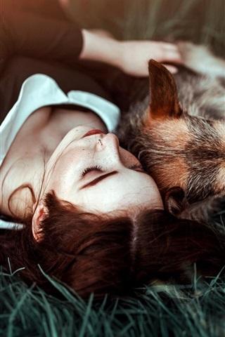 iPhone Wallpaper Girl and dog sleep on grass