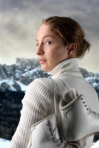 iPhone Wallpaper Girl look back, sweater, skates, snow, winter