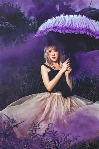 iPhone Wallpaper Girl, skirt, nature, umbrella, smoke, art photography