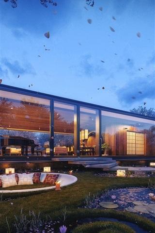 iPhone Wallpaper Glass house, garden, design