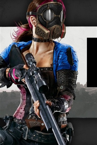 H1Z1 game, girl, mask, weapon 640x960