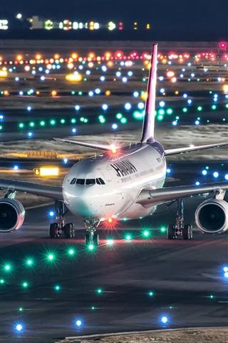 iPhone Wallpaper Japan, Kansai international airport, Airbus A330-200 plane flight, night