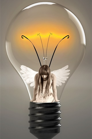 iPhone Wallpaper Light bulb, angel, girl, wings, creative picture