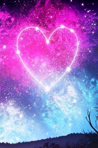 Amor Coração Céu Estrelado Noite Menina Silhueta Linda