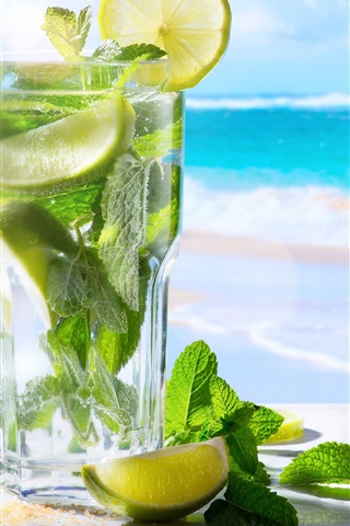 iPhone Wallpaper Mojito, lemon, mint, sunglasses, sea