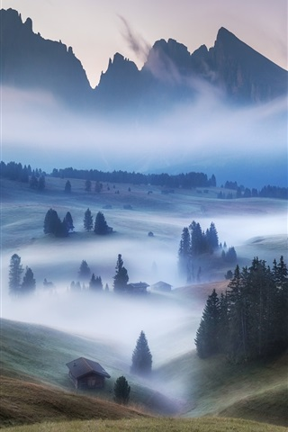 iPhone Wallpaper Mountains, houses, trees, fog, morning