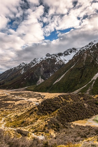 iPhone Wallpaper New Zealand, mountains, clouds, nature landscape