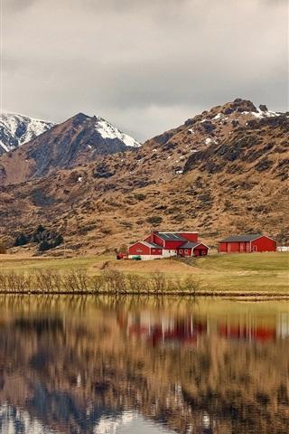 iPhone Wallpaper Norway, Lofoten, bushes, river, mountains, houses