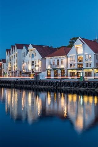 iPhone Wallpaper Norway, Stavanger, Rogaland, houses, river, lights, evening