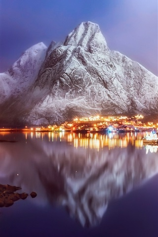 iPhone Wallpaper Norway, town, village, fjord, city night, lights, snow, water reflection