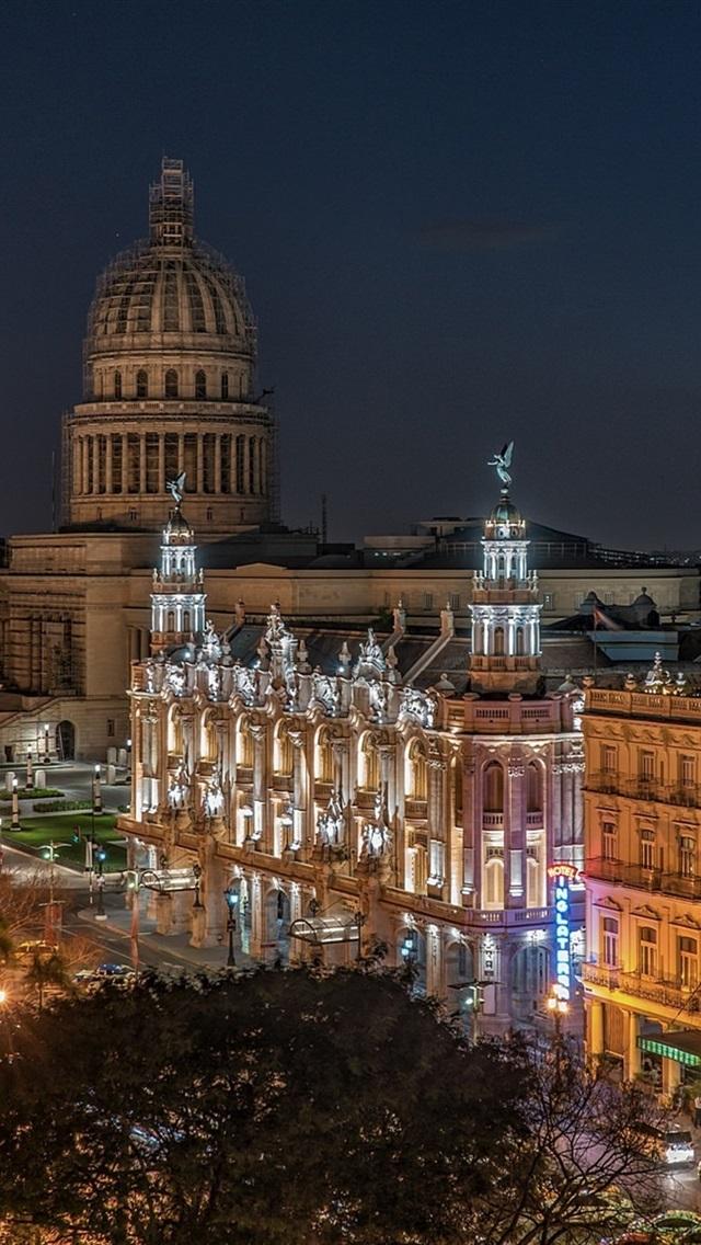 Wallpaper Old Havana Cuba Night City Lights Buildings