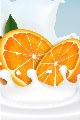 iPhone Wallpaper Orange slice, milk, splash