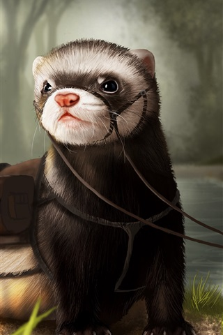 iPhone Wallpaper Otter, art drawing