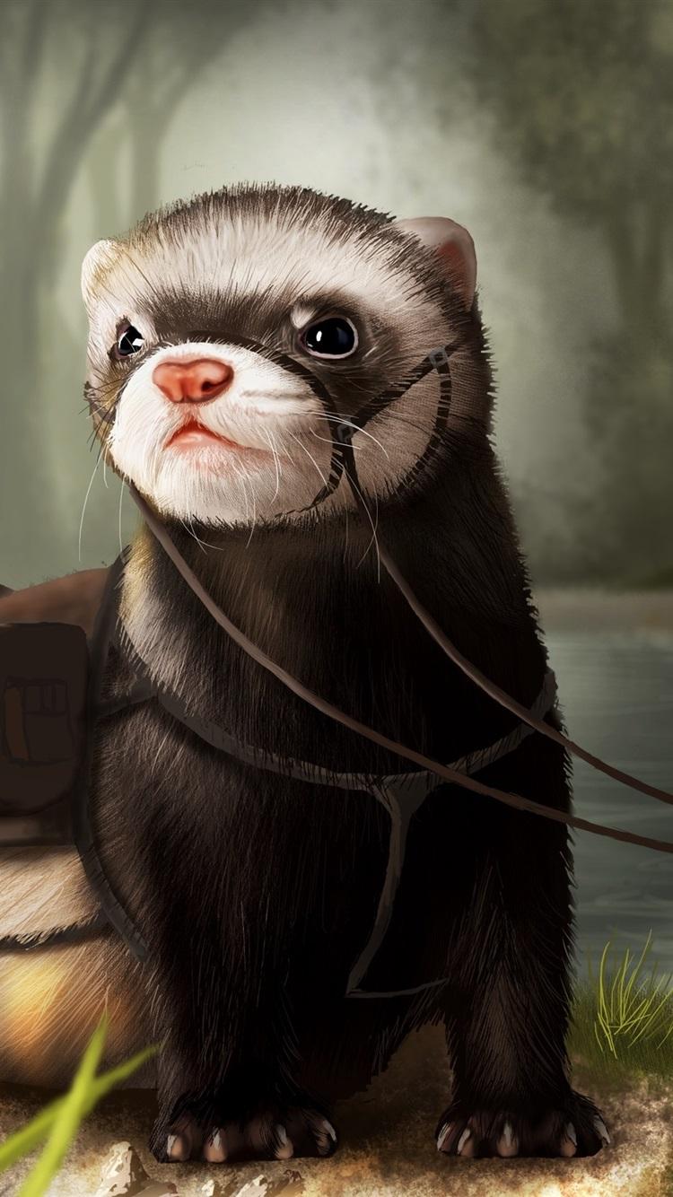 Otter Art Drawing 750x1334 Iphone 8 7 6 6s Wallpaper