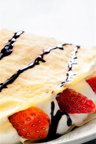 iPhone Wallpaper Pancake, strawberry, cream, cup, breakfast
