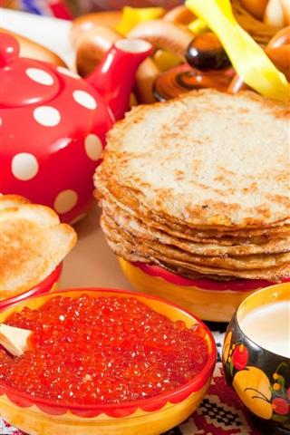 iPhone Wallpaper Pancakes, caviar, doughnut, delicious food