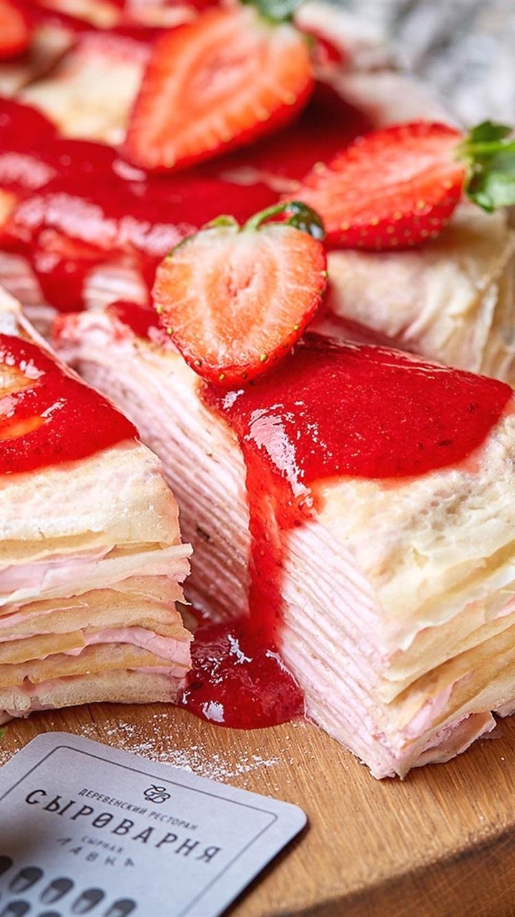 パンケーキ イチゴ ピース 食品 750x1334 Iphone 8 7 6 6s 壁紙 背景 画像
