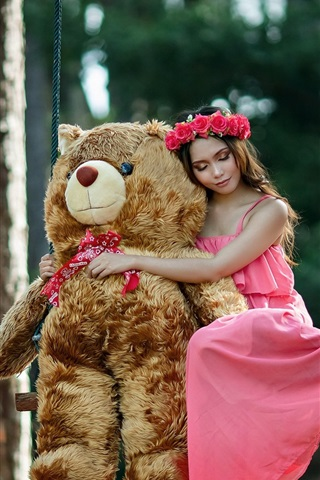 iPhone Wallpaper Pink skirt girl and teddy bear on swing