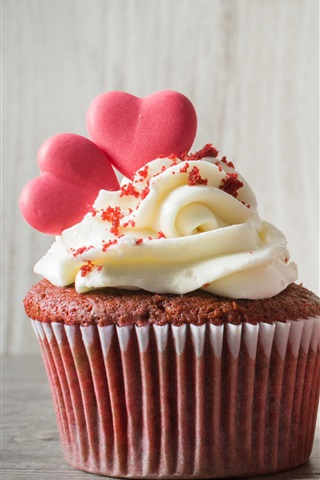 iPhone Wallpaper Red rose, cupcake