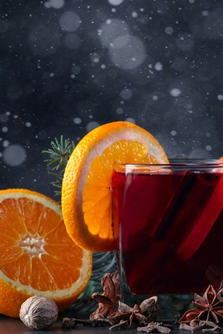 iPhone Обои Красный чай, апельсины, свеча, пламя