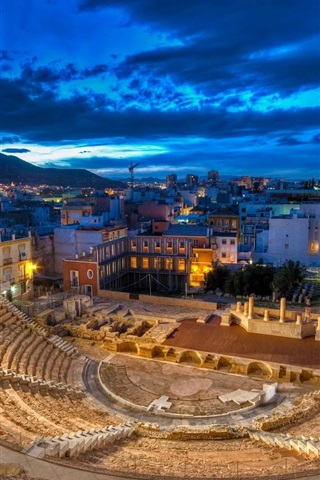 iPhone Wallpaper Roman theatre, Spain, night, lights, ruins