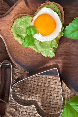 iPhone Wallpaper Sandwiches, love hearts, breakfast