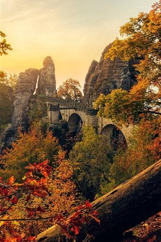 iPhone Wallpaper Saxony, Germany, bridge, trees, rocks, sun rays, autumn
