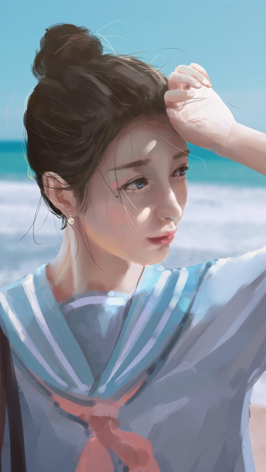 壁紙 女子高生 海 浜 水彩画 3840x2160 Uhd 4k 無料のデスクトップ