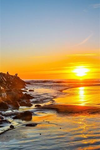 iPhone Wallpaper Sea, coast, rocks, people, dawn, sunrise