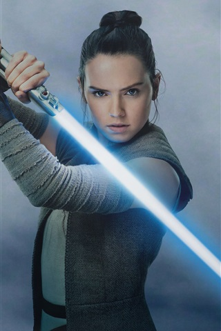 iPhone Wallpaper Star Wars: The Last Jedi, Daisy Ridley, laser sword