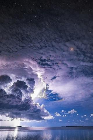 iPhone Wallpaper Storm, clouds, lightning, sea, dusk
