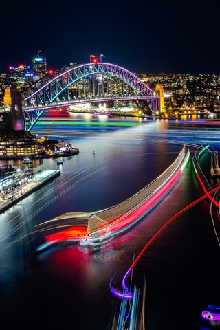 iPhone Wallpaper Sydney, beautiful city night view, lights, Opera House, Australia