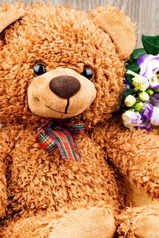 iPhone Wallpaper Teddy, toy bear, flowers