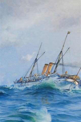 iPhone Wallpaper Watercolor painting, sea waves, battleship, ocean