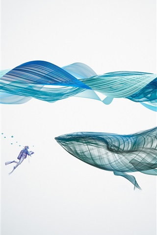 iPhone Wallpaper Whale, waves, underwater, abstract design