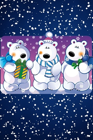 iPhone Wallpaper White bears, snowy, art picture