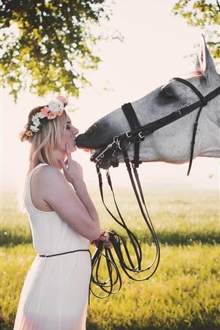 iPhone Wallpaper White skirt girl kiss horse