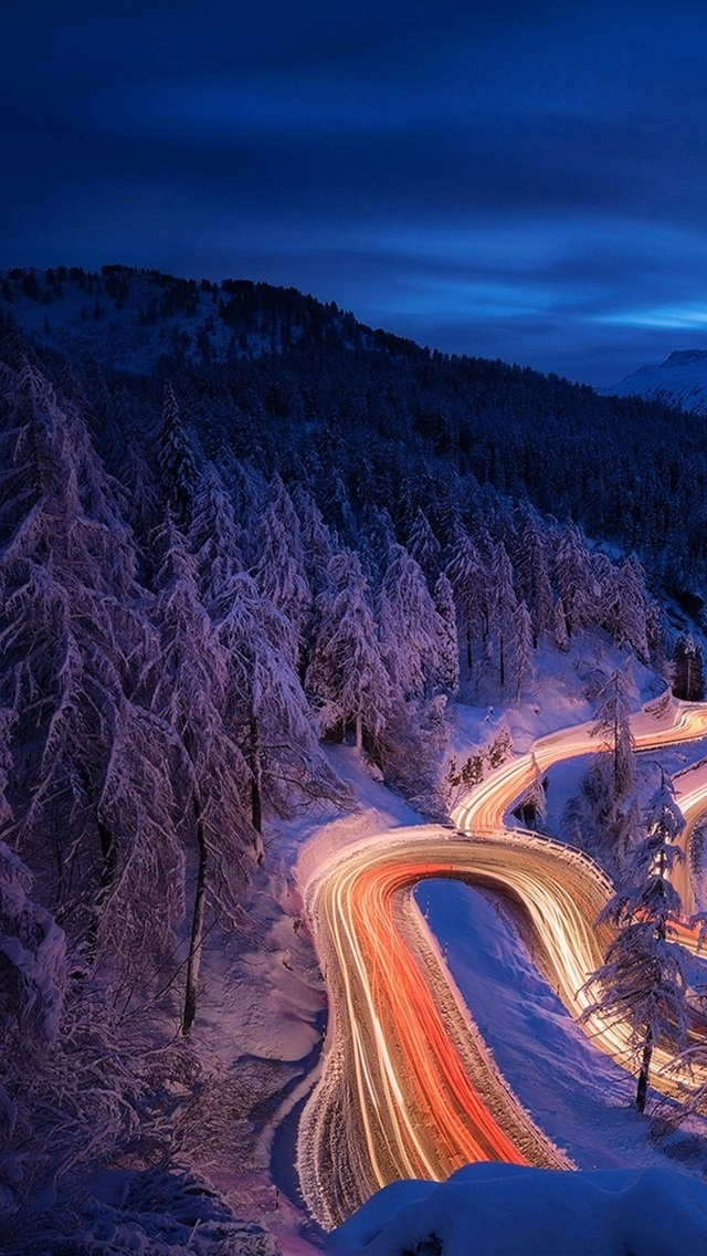 Winter Night Forest Snow Curved Road Lights 640x1136 Iphone 5