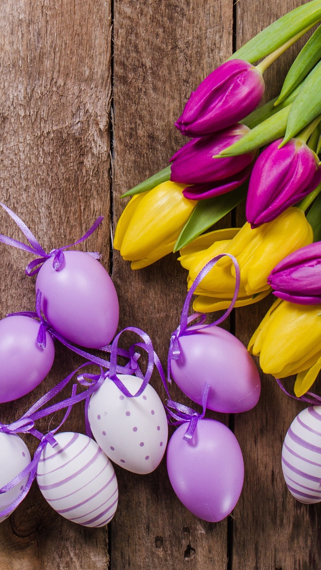 Yellow And Purple Tulips Eggs Easter 1080x1920 Iphone 8 7 6 6s